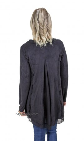 Donna Ladies Classic Open Cardigan With Detail In Black Monoreno