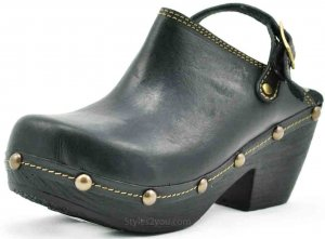 Hardin Ladies Bohemian Clogs Hand Made Leather Black Sbicca