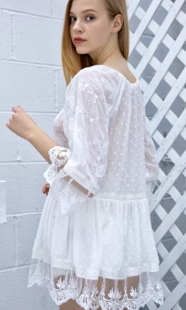 Faith Short Sleeve Embroidered Vintage Lace Blouse In Ivory