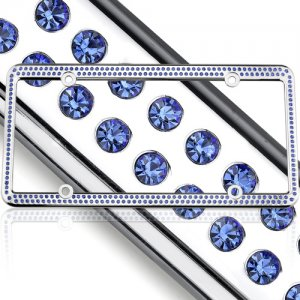 License Plate Frame Blue Swarovski Crystals