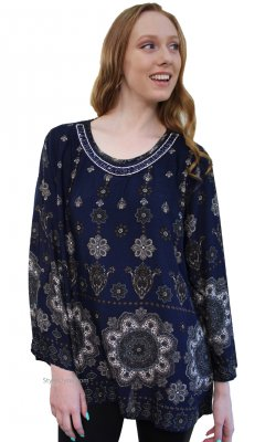 Noma Ladies Curvy Size Bohemian Blouse In Navy