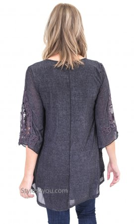 Zahar Ladies Layered Tunic With Crochet Insets In Gray