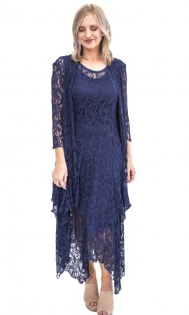 Abigail Layered All Lace Dress With Slip In Navy Verducci Dress