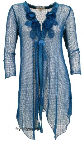 Loral Victorian Steampunk Cardigan Tunic In Turquoise