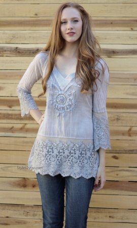 Molly Embroidered Tunic In Light Gray Sacred Threads Clothing