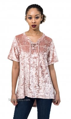 Honor Oversized Crushed Velvet Short Sleeve High Low Top Pink