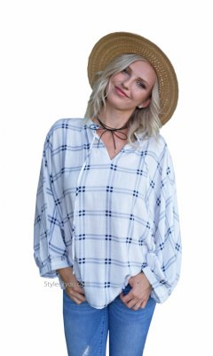 Mankato Oversized Loose Fit Bohemian Top With Tie Blue Plaid