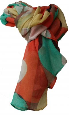 Ladies Classic Scarf In Burnt Orange & Teal