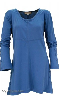 Marcy Jersey Tunic In Blue