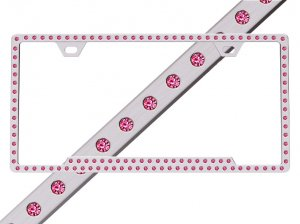 Hot Pink Rhinestone License Plate Frame 125