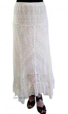 Anna Victorian Vintage Lace Maxi Skirt With Elastic Waist