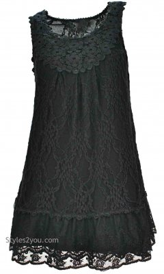 Anita Vintage Victorian Antique Lace Tunic In Black
