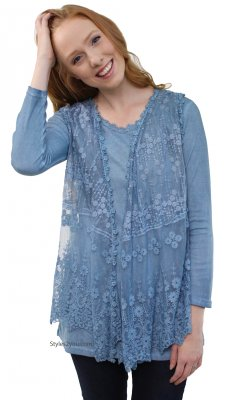 Mahi Ladies Two Piece Modern Vintage Lace Shirt Dress In Blue