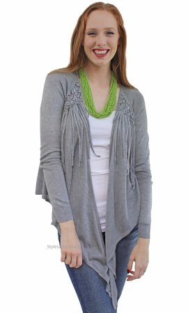 Imogen Ladies Fringe Cardigan Heather Gray Morning Apple Sweater