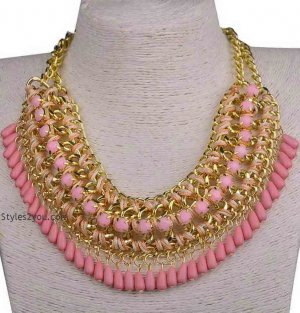 Beaded Collar Necklace In Pinks