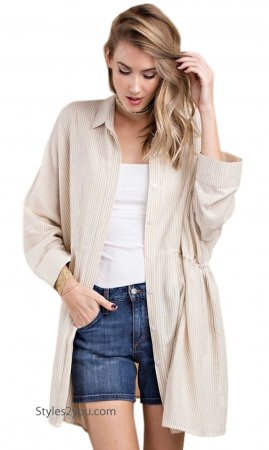 Monet Oversized Shirt Dress Cardigan With Pockets Taupe Stripes