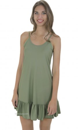 Holly Slip With Ruffle Shirt Extender Dress Extender In Green