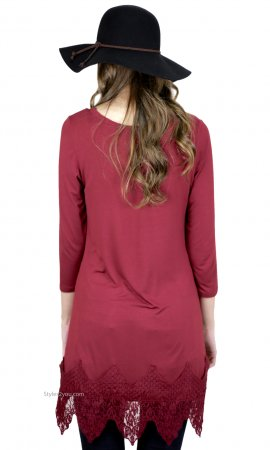 Daphnie Shirt Dress Extender With Lace Hemline Burgundy Monoreno
