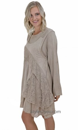 Indiana Lace Shirt Dress With Vest & Scarf Brown Sacred Thread