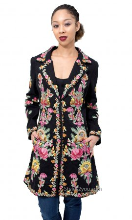 London Ladies Long Floral Embroidered Jacket In Black