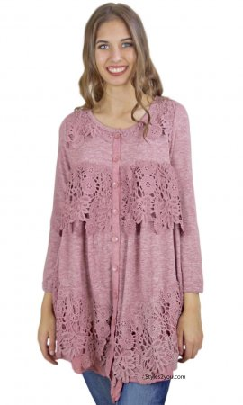 Everett Ladies Long Sleeve Vintage Lace Shirt Dress Duster Mauve