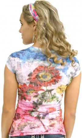Rosie Awake Couture Ladies Tropical Flower Top With Rhinestones