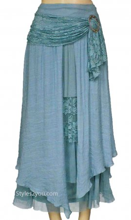 Alabama Ladies Vintage Victorian, Western Belted Skirt Aqua