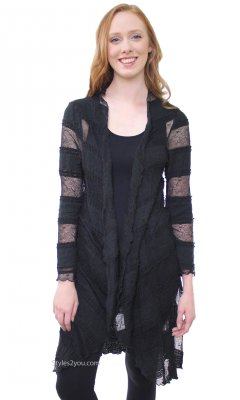 Robin Ladies Bohemian Open Lace Duster In Black