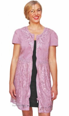 Monet Ladies Zippered Shirt Dress Duster With Lace In Mauve