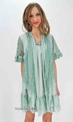 Huntington Short Sleeve Ladies Vintage Blouse In Aqua