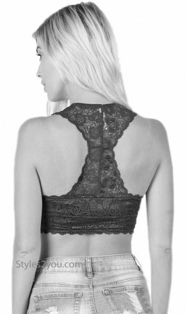 Gresham Stretch Lace Bralette With hourglass Back & Pads In Nude