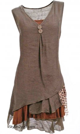 Colette Ladies Bohemian Retro Two Piece Knit Shirt Dress Coffee