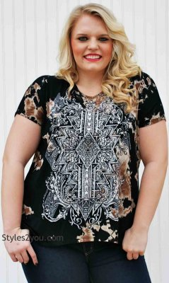 Kita CURVY PLUS SIZE Tie Dye Blouse In Black