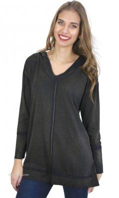 Porscha Reversible Hooded Tunic Top In Vintage Wash Charcoal