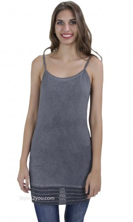 Lynnwood Camisole With Embroidered Lace Hem In Washed Gray