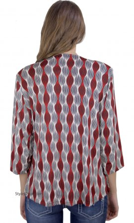 Rachelle Ladies PLUS SIZE Rhinestone Blouse In Red COC Clothing