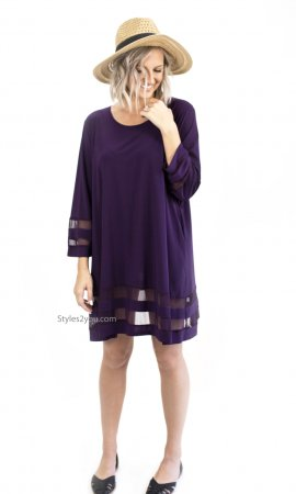 Claudine Pretty Woman Plus Size Shirt Dress With Mesh In Purple