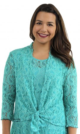 Eleanor Long Sleeve All Lace Open Cardigan In Turquoise