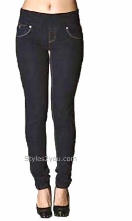 Lola Jeans Anna Skinny Pull On Denim Jeans Dark Blue
