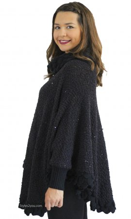 Mireille Bohemian Chenille Sweater Poncho With Cuffs Black