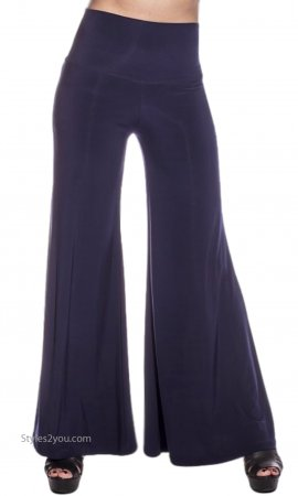 Morgan Ladies Palazzo Pants With Wide Waist In Black Verducci