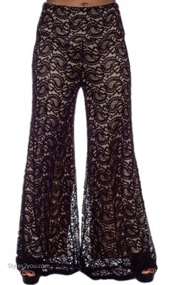 Carlin Vintage Victorian ALL Lace Lined Pant BK Taupe Verducci