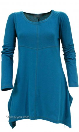 Betsy Ladies Bohemian Shirt Dress In Turquoise