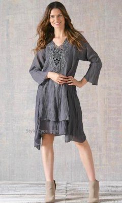 Bernice Bohemian Layered Crochet Tunic Dress In Gray