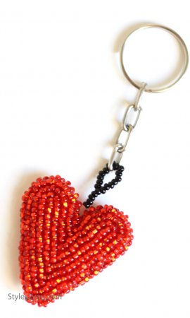 Heart Tassel Hand Beaded Heart Keychain In Red