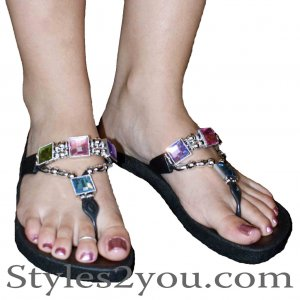 Grandco Sandals Pastel Crystal Thong In Black