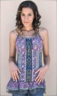Archer Gypsy Boho Victorian Lace Up Camisole Top In Gray & Pink