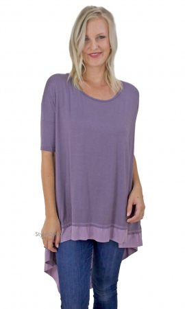Cadence Oversized Asymmetrical Tunic With Color Blocking Purples