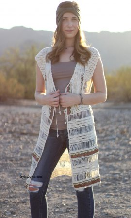 Autumn Bohemian Vest Cardigan In Creams & Brown Sacred Threads