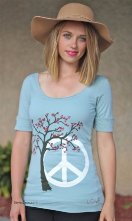 Holly Peace 3/4 Sleeve Ladies Bohemian Tee In Aqua By Signorelli